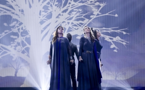 Mandatory Credit: Photo by Rolf Klatt/REX Shutterstock (4778916w)  Genealogy of Armenia  Eurovision Song Contest, Semi-Final 1, dress rehearsal, Vienna, Austria - 18 May 2015