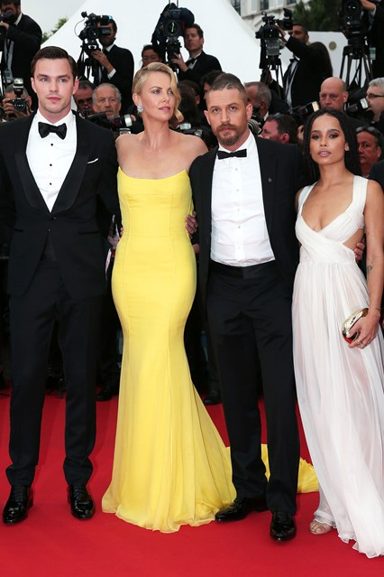 Nicholas-Hoult-Charlize-Theron-Tom-Hardy-Zoe-Kravitz-Vogue-15May15-Getty_b_426x639