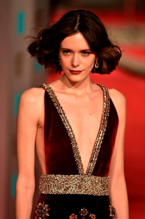French-British actress Stacy Martin poses on arrival for the BAFTA British Academy Film Awards at the Royal Opera House in London on February 14, 2016. AFP / NIKLAS HALLE'NNIKLAS HALLE'N/AFP/Getty Images