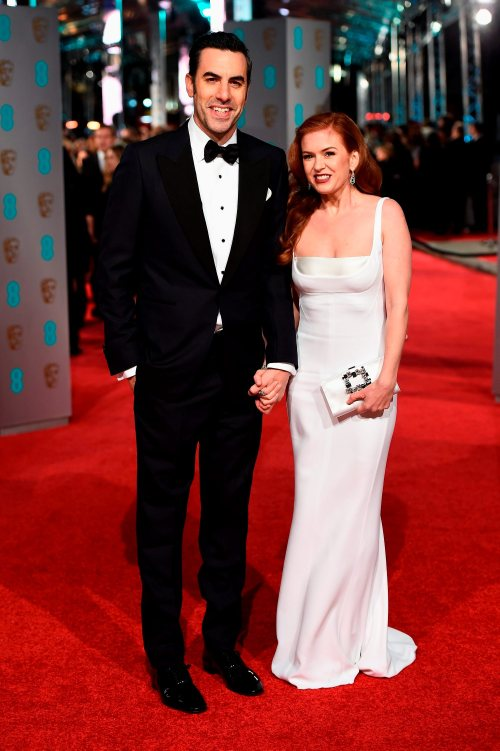 LONDON, ENGLAND - FEBRUARY 14: Sacha Baron Cohen and Isla Fisher attend the EE British Academy Film Awards at the Royal Opera House on February 14, 2016 in London, England. (Photo by Ian Gavan/Getty Images)