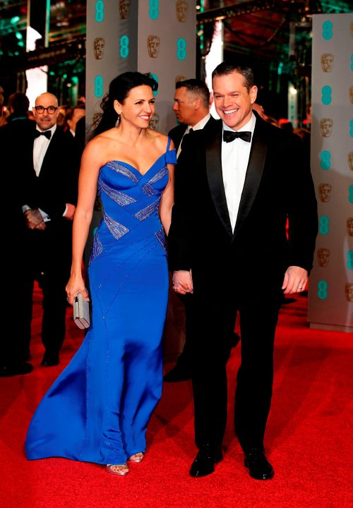 Matt Damon and Luciana Barroso attending the EE British Academy Film Awards at the Royal Opera House, Bow Street, London. PRESS ASSOCIATION Photo. Picture date: Sunday February 14, 2016. See PA Story SHOWBIZ Baftas. Photo credit should read: Yui Mok/PA Wire