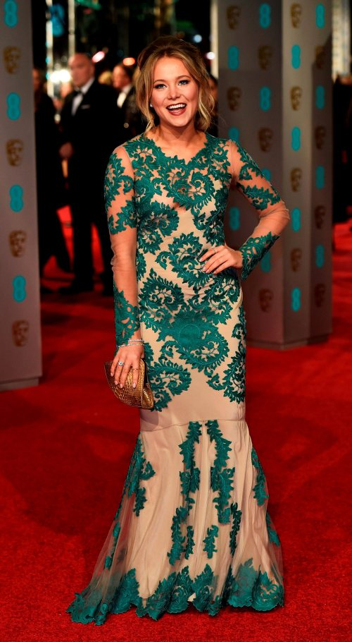 Television presenter Poppy Jamie arrives at the British Academy of Film and Television Arts (BAFTA) Awards at the Royal Opera House in London, February 14, 2016. REUTERS/Toby Melville